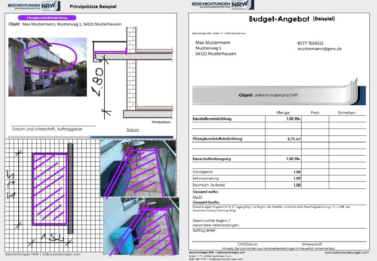 Kostvoranschlag für eine Balkonsanierung ohne Vorortanalyse