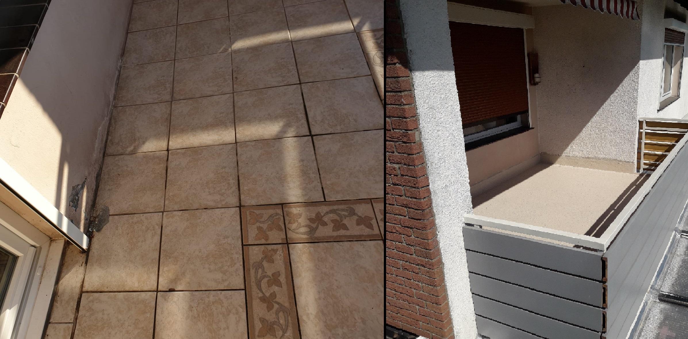 Balkonsanierung in Duisburg – Moderne Kunststoffoberfläche ersetzt die alten Fliesen